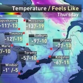 没错,11月比1月还冷!-30℃,就这周四!如果你在多伦多小心了